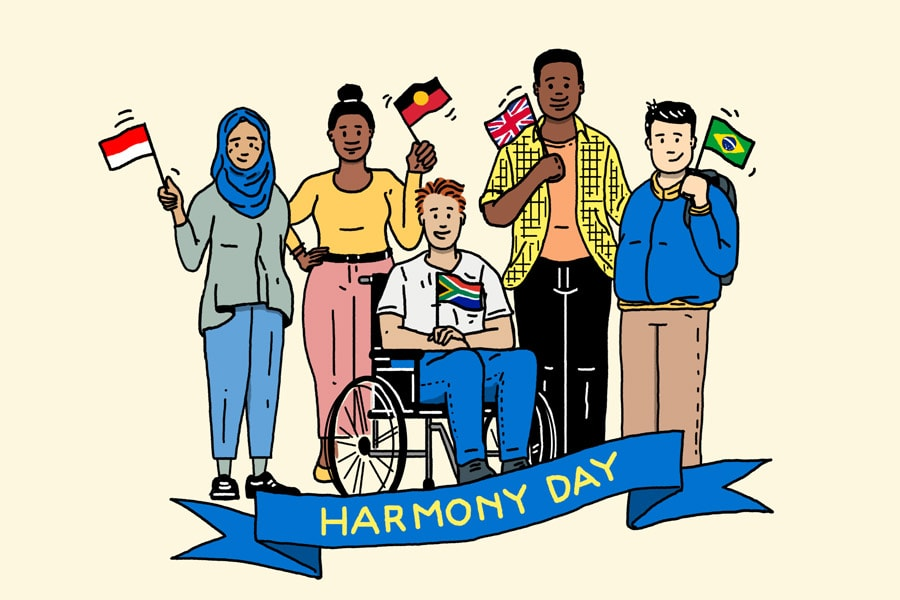 Harmony Day cartoon five young people from around the world smiling and holding their country's flags