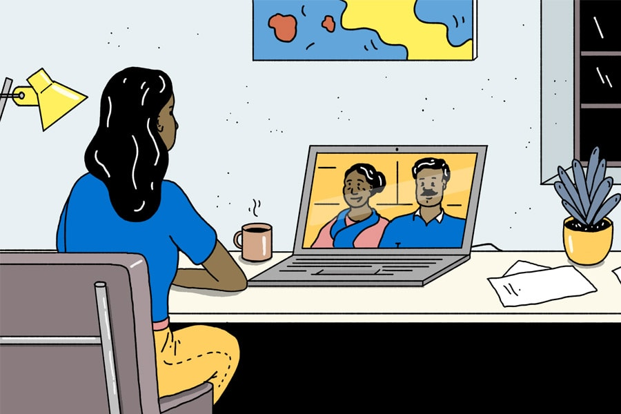 Harmony Day cartoon girl using laptop to talk with overseas relatives