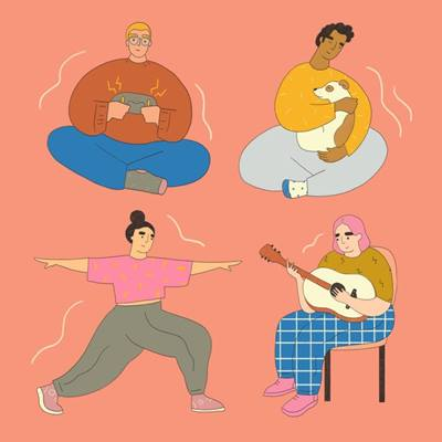 graphic of people playing guitar, doing yoga, playing with dog, gaming