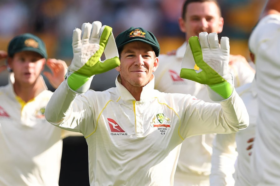 Tim Paine smiling with hands up teammates behind him